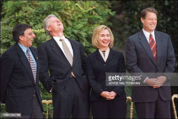 US President Bill Clinton in picture taken 06 November1996 at the White House in Washington DC laughs with his chief of staff Leon Panetta First Lady...