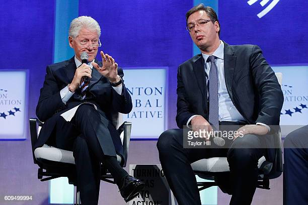 President Bill Clinton interviews Prime Minister of Serbia Aleksandar Vucic during the 2016 Clinton Global Initiative Annual Meeting at Sheraton New...