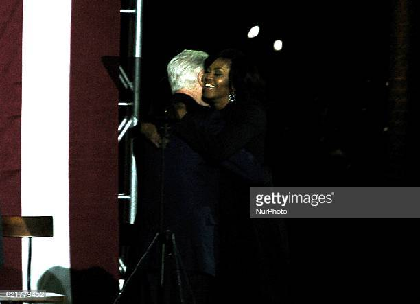 President Bill Clinton introduce First Lady Michelle Obama with a warm embrace as the two make one final plea for a Hillary Presidency in...