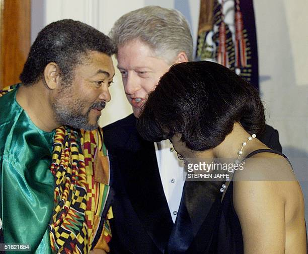 President Bill Clinton introduces his lawyer Cheryl Mills to the Ghana President Jerry John Rawlings during the receiving line at the official state...