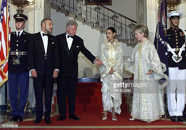 President Bill Clinton is pictured with His Majesty Mohammed VI King of Morocco Her Royal Highness Lalla Meryem and US First Lady Hillary Rodham...