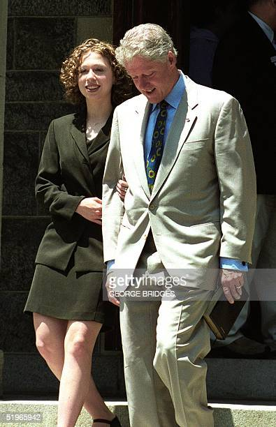 President Bill Clinton leaves Foundry United Methodist Church with his daughter Chelsea on Father's Day 18 June 2000 in Washington DC Clinton spent...