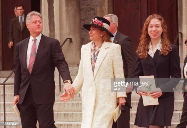 US President Bill Clinton leaves the Foundry Methodist Church in Washington 07 April after attending Easter services with his wife Hillary and...