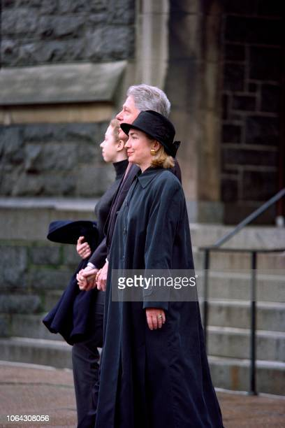 US President Bill Clinton leaves the Foundry United Methodist Church after attending services with his wife Hillary Clinton and his daughter Chelsea...