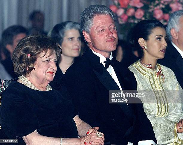 President Bill Clinton listens to the music of Earth Wind and Fire joined by former UPI White House reporter Helen Thomas and Her Royal Highness...