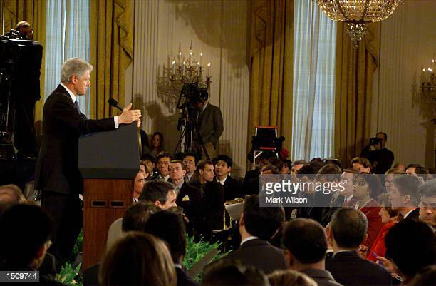 President Bill Clinton makes remarks during a press conference in the East Room of the White House March 29, 2000. President Clinton urged the...