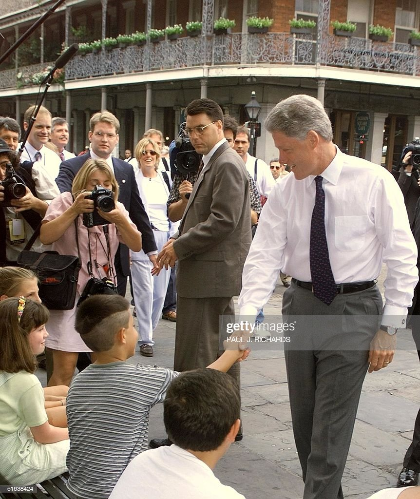Us President Bill Clinton Meets And Greets People Pictures Getty