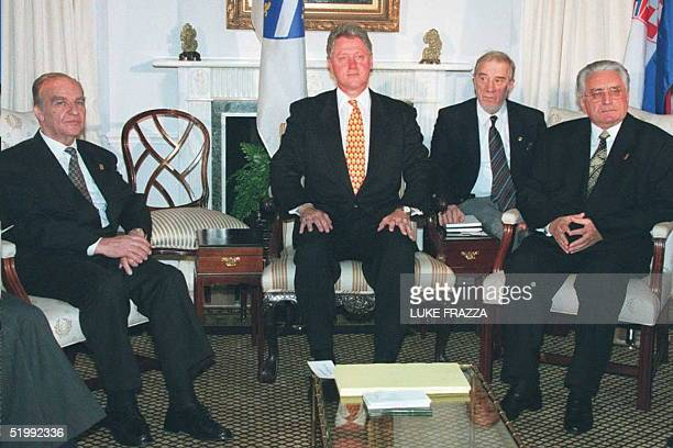 President Bill Clinton meets with Bosnian President Alija Izetbegovic and Croatian President Franjo Tudjman in New York on the sidelines of the...
