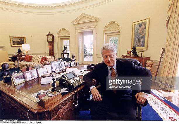 S President Bill Clinton poses for portrait in the Oval Office August 17 1999 in Washington DC
