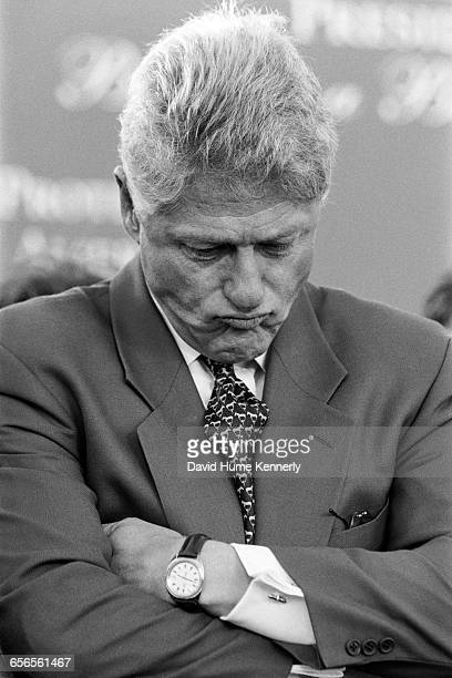 President Bill Clinton reflects for a moment during his reelection bid at a rally in Santa Barbara on Nov 1 1996