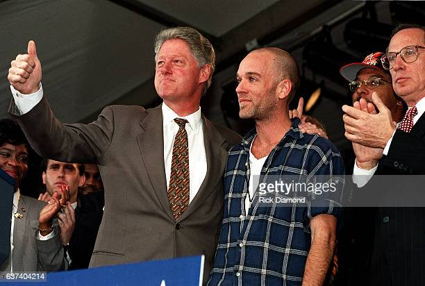 President Bill Clinton REM's Michael Stipe and Senator Sam Nunn attend rally at Centennial Olympic Park in Atlanta Georgia November 18 1996 Photo By...
