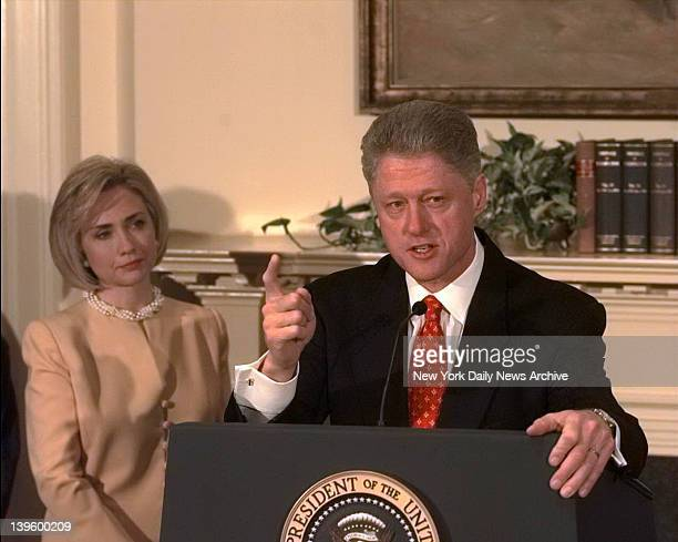 President Bill Clinton shakes his finger as he denies improper behavior with Monica Lewinsky in the White House Roosevelt Room I did not have sexual...