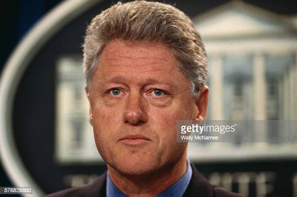 President Bill Clinton solemnly announces the defeat of the Tobacco Bill in the US Senate