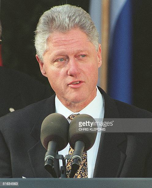President Bill Clinton speaks 11 December during an event at the White House to aid victims of Hurricane Mitch in Washington DC Clinton leaves on a...