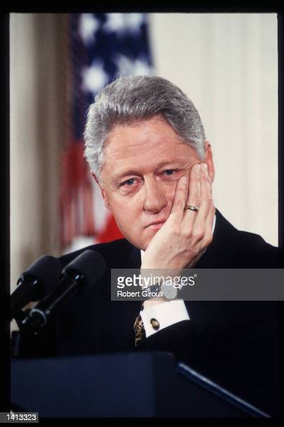 President Bill Clinton speaks at a press conference January 16 2000 in Washington DC Clinton served two terms as US president faced impeachment and...