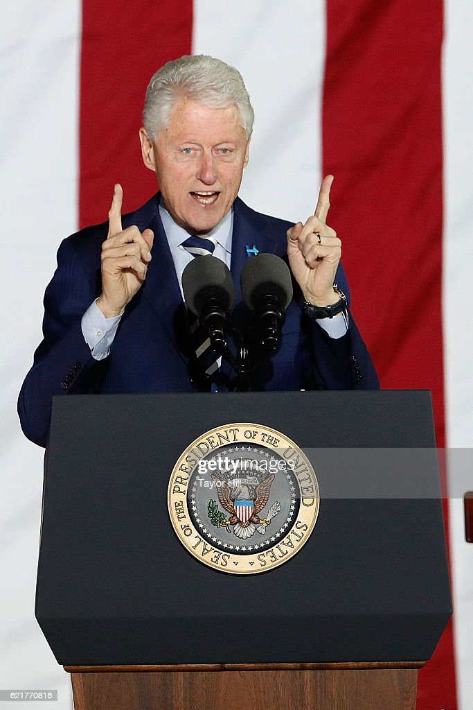 President Bill Clinton speaks during 'The Night Before' rally at Independence Hall on November 7, 2016 in Philadelphia, Pennsylvania.