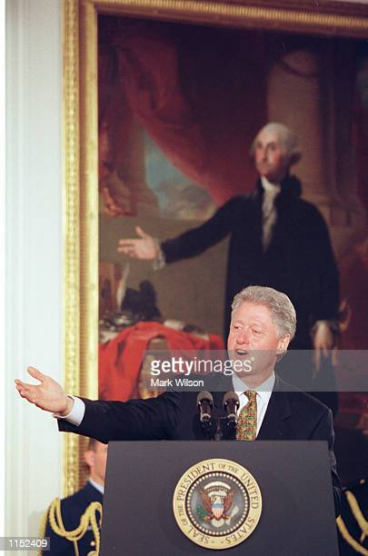 President Bill Clinton speaks during the presentation ceremony of the Congressional Gold Medals at the White House November 9 1999 The Little Rock...