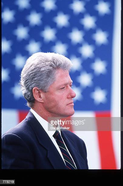 President Bill Clinton speaks October 3 1994 in Washington DC Clinton spoke to supporters of the General Agreement on Tariffs and Trade and estimated...
