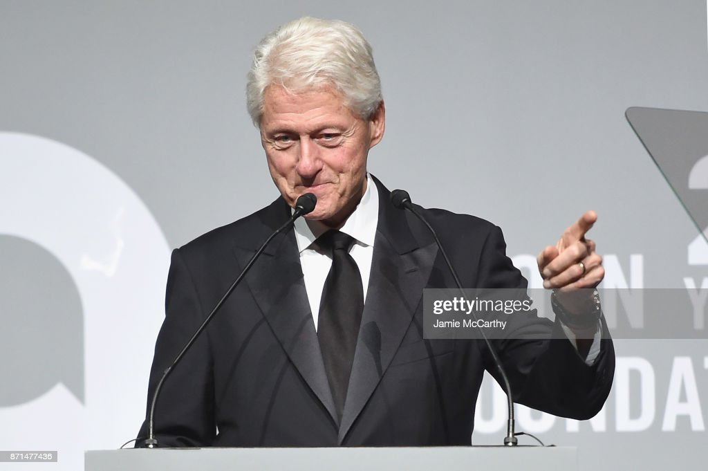 President Bill Clinton speaks onstage at the Elton John AIDS Foundation Commemorates Its 25th Year And Honors Founder Sir Elton John During New York Fall Gala at Cathedral of St. John the Divine on November 7, 2017 in New York City.