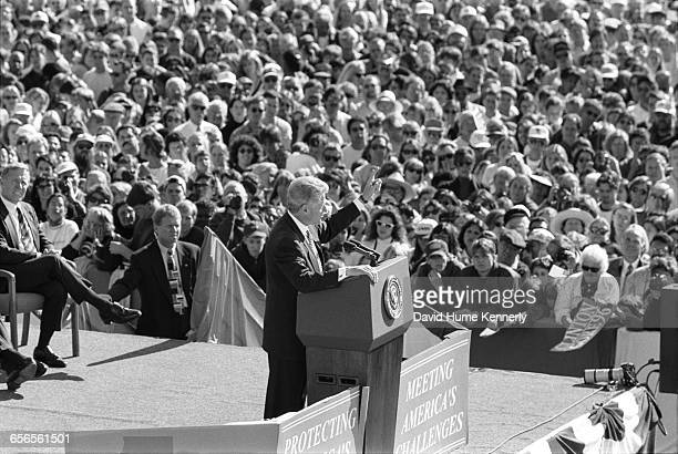 President Bill Clinton speaks to a large crowd during his reelection bid at a rally in Santa Barbara Nov 1 1996