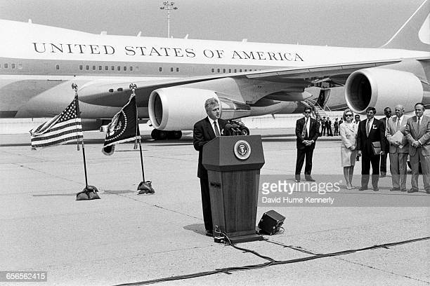 President Bill Clinton speaks with reporters regarding the crash of TWA Flight 800 on July 26 1996 The crash off the coast of New York resulted in...