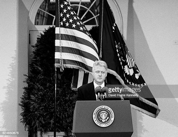 President Bill Clinton talks to the media after learning that the US Senate voted to acquit him of the charges of perjury and obstruction of justice...