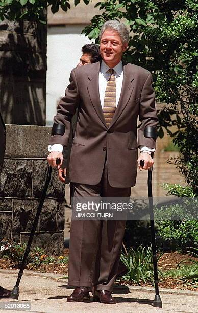 President Bill Clinton walks to a waiting limousine after attending services at the Foundry United Methodist Church in Washington DC 04 May...
