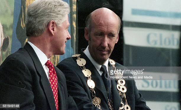 President Bill Clinton with the Mayor of Limerick Joe Harrington during his 1998 visit to Ireland
