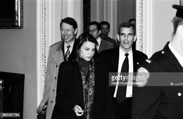 President Bill Clinton's attorneys including David Kendall Nicole Seligman and Bruce Lindsey leave the Senate floor during the Clinton Impeachment...