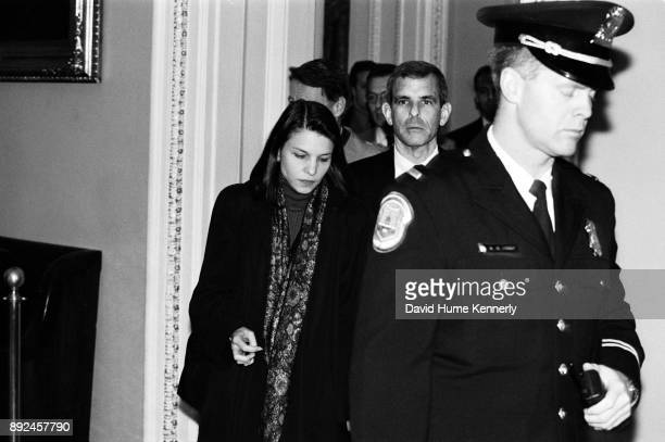 President Bill Clinton's attorneys including Nicole Seligman and Bruce Lindsey leaves the Senate floor during the Impeachment Trial on Feb 9 1999 in...