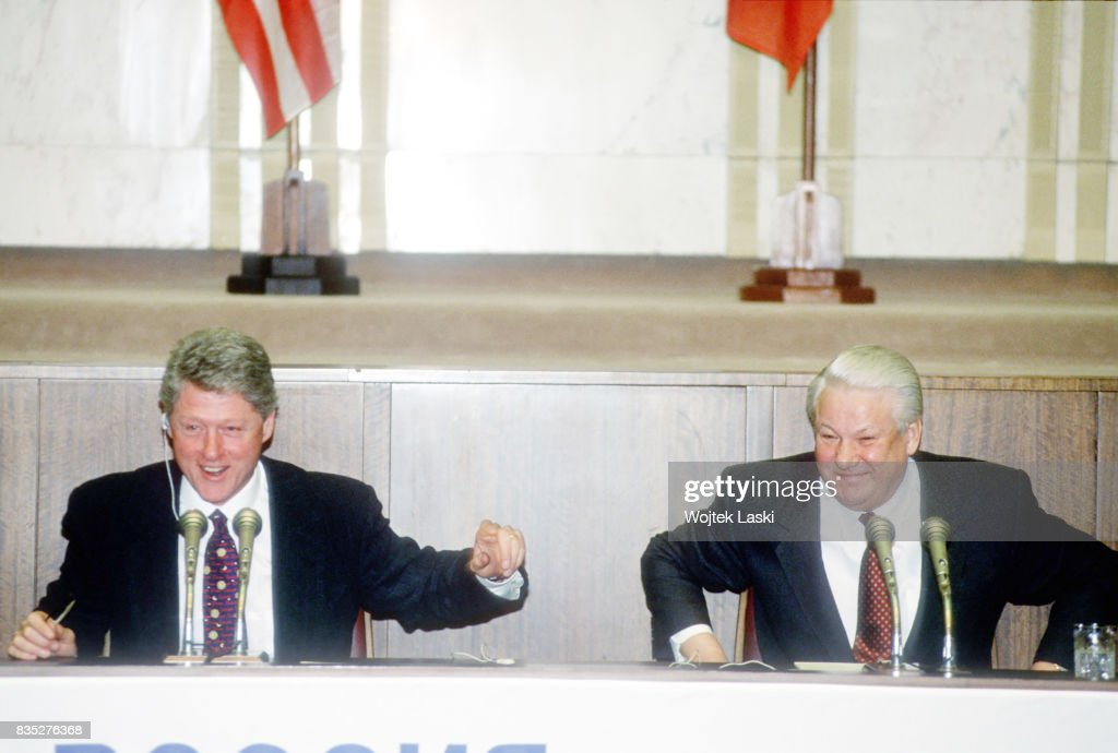 US President Bill Clinton's first official visit to Russia. A press conference with the Russian President Boris Yeltsin. Moscow, Russia, on 14th January 1994.