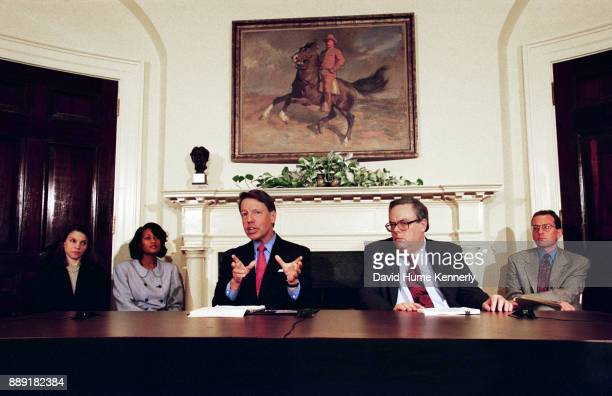 President Bill Clinton's lawyers at a press conference in the Roosevelt Room of the White House to discuss Special Prosecutor Kenneth Starr's 445page...