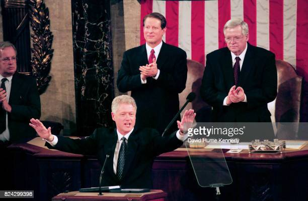 President Bill Clinton's State of the Union Speech before a joint session of Congress Washington DC January 19 1999 Behind him is Vice President Al...