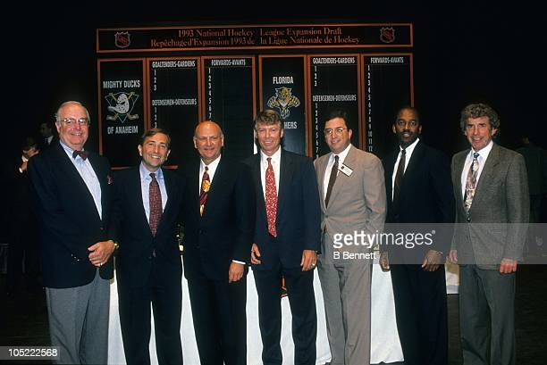 President Bill Torrey NHL commissioner Gary Betteman owner H Wayne Huizenga Vice President Bobby Clarke and head coach Roger Neilson pose during the...