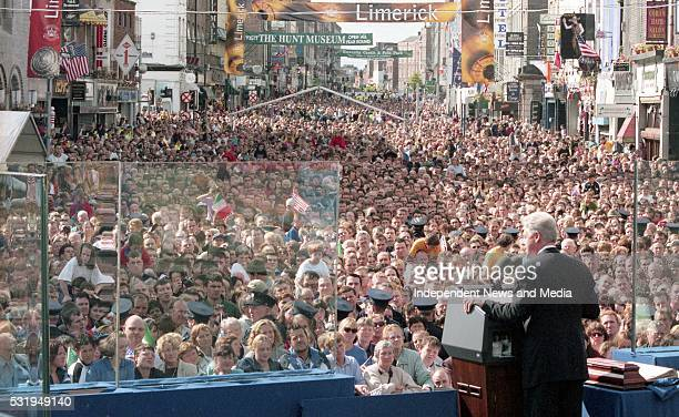 President Bll Clinton adderssing a large crowd in Limerick during his visit to Ireland