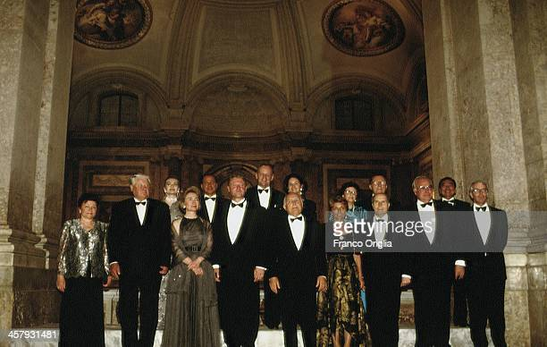 President Boris Yeltsin of Russia and his wife Naina Yeltsin Italian Prime Minister Silvio Berlusconi and his Second wife Veronica Lario 42nd...