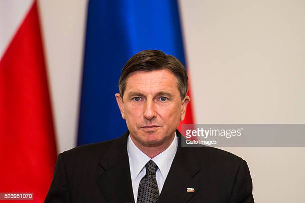 President Borut Pahor of Slovenia meets with President Andrzej Duda of Poland meets on April 22 2016 at the Presidential Palace in Warsaw Poland The...