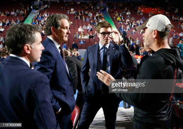 President Brendan Shanahan of the Toronto Maple Leafs and owner Tom Dundon of the Carolina Hurricanes on the draft floor during Rounds 27 of the 2019...