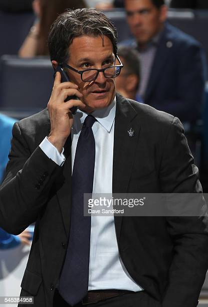 President Brendan Shanahan of the Toronto Maple Leafs looks on during the 2016 NHL Draft at First Niagara Center on June 25 2016 in Buffalo New York
