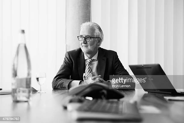 Image has been converted to black and white UCI President Brian Cookson attends meetings at the UCI Headquarters in Aigle on June 22 2015 in Aigle
