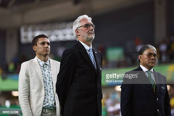 President Brian Cookson attends the medal ceremony for the Women's Keirin on Day 8 of the Rio 2016 Olympic Games at the Rio Olympic Velodrome on...