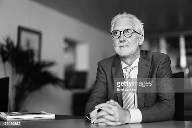 UCI President Brian Cookson poses for a photo at the UCI Headquarters in Aigle on June 22 2015 in Aigle