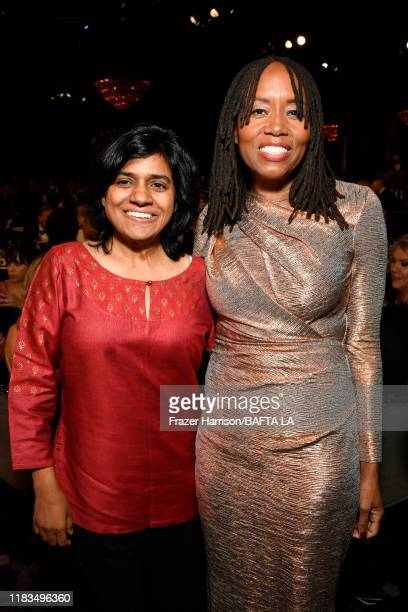 President BritBox Soumya Sriraman and BAFTA Los Angeles Chair of the Board Kathryn Busby pose during the 2019 British Academy Britannia Awards...