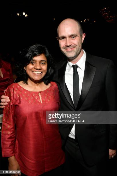 President BritBox Soumya Sriraman and BAFTA Los Angeles COO Matthew Wiseman pose during the 2019 British Academy Britannia Awards presented by...