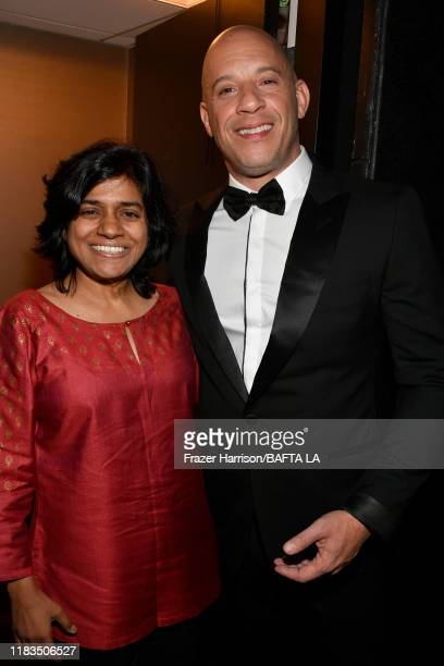 President BritBox Soumya Sriraman and Vin Diesel pose during the 2019 British Academy Britannia Awards presented by American Airlines and Jaguar Land...