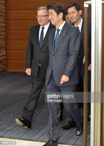 President Bronislaw Komorowski and Prime Minister Shinzo Abe attend the Summit Meeting on February 27 2015 at the Prime Minister's Official Residence...