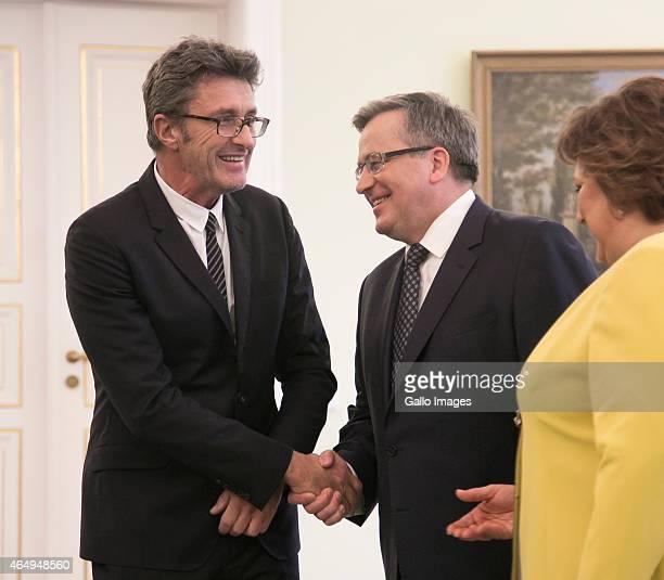 President Bronislaw Komorowski and the First Lady meet with Ida director Pawel Pawlikowski and actress Agata Trzebuchowska on March 2 2015 at...