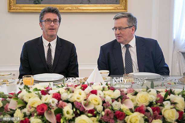 President Bronislaw Komorowski meets with the Ida director Pawel Pawlikowski and cast on March 2 2015 at Belvedere Palace in Warsaw Poland Ida is the...