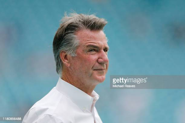 President Bruce Allen of the Washington Redskins looks on prior to the game between the Washington Redskins and the Miami Dolphins at Hard Rock...