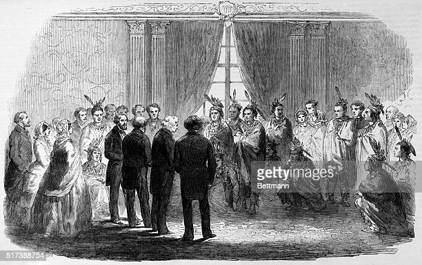 Presentation of Pawness Poncas and Pottowattamies to the President of the United States at the White House Washington 1858 Engraving